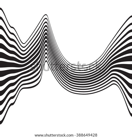 optical art opart striped wavy background abstract waves black and white #388649428