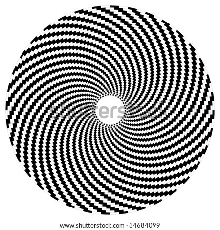 Optical art sphere in black and white
