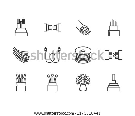 Optical fiber flat line vector icons. Network connection, computer wire, cable bobbin, data transfer. Thin signs for electronics store, internet services. Pixel perfect 64x64. Editable Strokes. Foto stock ©