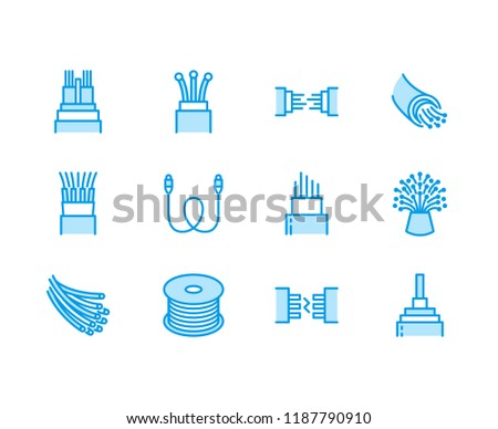 Optical fiber flat line vector icons. Network connection, computer wire, cable bobbin, data transfer. Thin signs for electronics store, internet services. Pixel perfect 64x64. Editable Strokes.