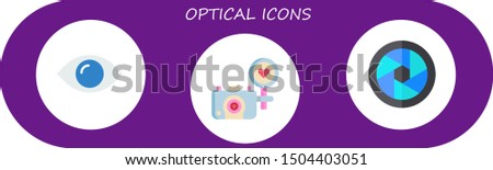 optical icon set 3 flat