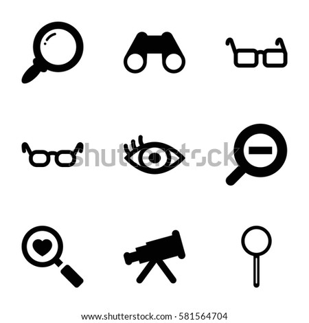 optical icons set set of 9