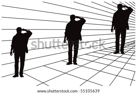 Optical illusion about different size in perspective. All three men silhouettes are same size. Mistake perception of human eye. Vector illustration.