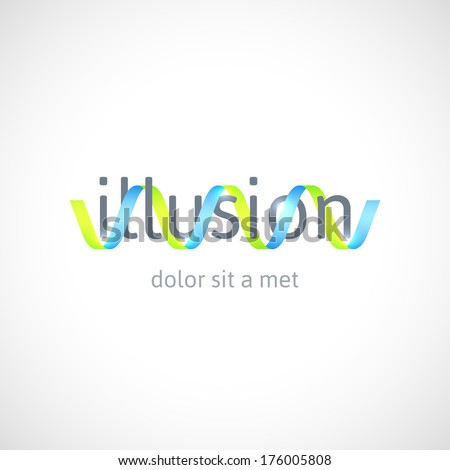 Optical illusion concept  abstract logo design template  vector symbol    Optical Logo Vector