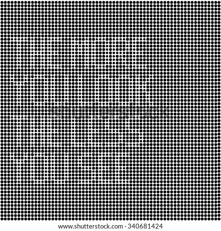 """optical illusion disappearing text made of black dots on white background. modern algorithm artwork for posters or any graphic design use. """"the more you look the less you see"""" text."""