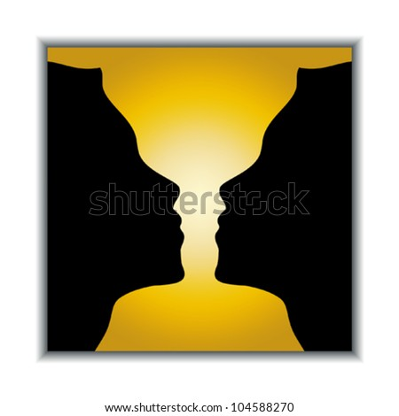 Optical illusion. Holy grail or two girls? Vector illustration.