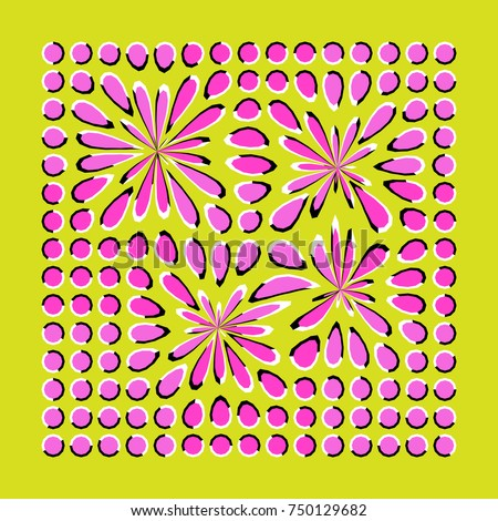 Optical illusion of movement executed in the form of fluctuating pink and lilac polygons. Unusual abstract background. Decorative modern design.