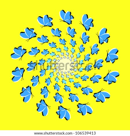 Optical illusion of rotation: background with flying dark blue butterflies (eps10)