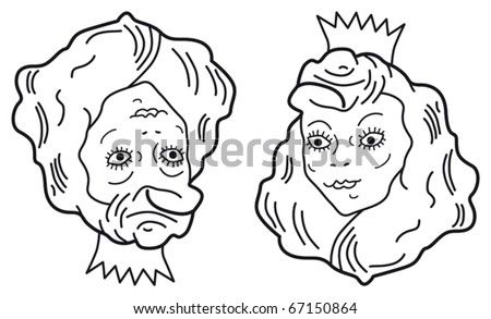 Optical illusion. Young beautiful princess or old ugly woman? Vector illustration.