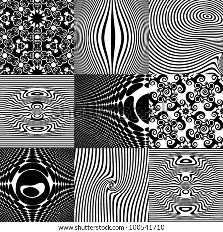 optical illusions, abstract patterns, vector design elements