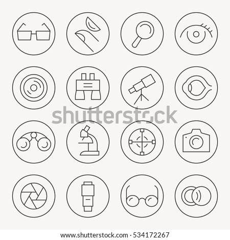optical thin line icon set