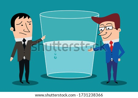 Optimism versus pessimism concept. Cartoon characters businessmen indicating glass half full or half empty. vector isolated Сток-фото ©