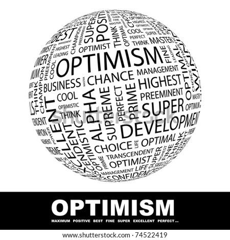 OPTIMISM. Word collage on white background. Vector illustration. Illustration with different association terms. - stock vector