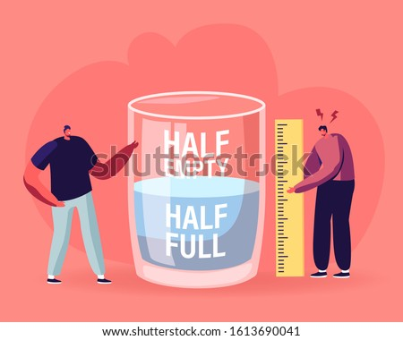 Optimist and Pessimist Concept. Couple of Male Characters Stand at Huge Water Glass Discussing if it is Half Full or Empty Positive and Negative Thinking Life Attitude. Flat Vector Illustration