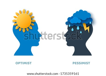 Optimist and pessimist psychology concept. Vector illustration. Blue man head silhouette isolated on white background for psychotherapy design. Mental health and depression. Foto stock ©