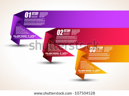 Option tag with origami paper style for infographics, brochure or business presentations. 4 different colors.