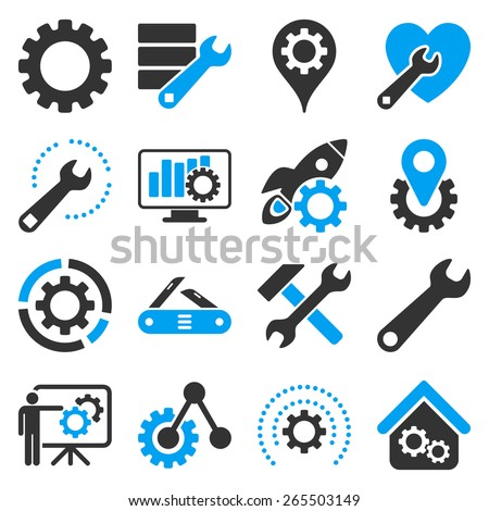 Options and service tools icon set. These bicolor icons use modern corporate light blue and gray colors, white color is not used in the symbols.