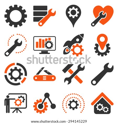Options and service tools icon set. Vector style: flat bicolor symbols, orange and gray colors, rounded angles, white background.