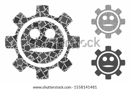 Options gear neutral smiley mosaic of inequal items in variable sizes and color hues, based on options gear neutral smiley icon. Vector joggly items are composed into mosaic.