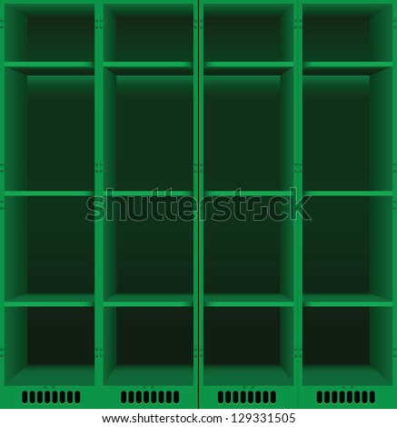 Options steel lockers for changing rooms in public places. Vector illustration.
