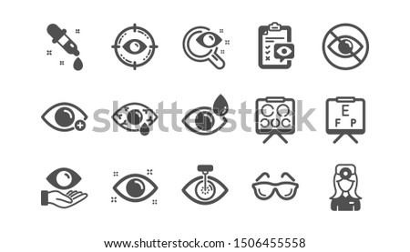 Optometry, Eye doctor icons. Medical laser surgery, glasses and eyedropper. Pink eye, Cataract surgery and allergy icons. Optician board, oculist chart. Classic set. Quality set. Vector