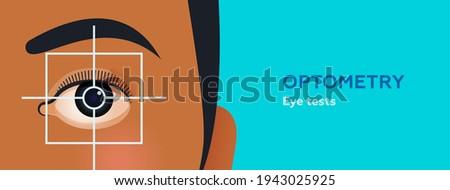 Optometry. Eye Test. Modern Flat Vector Illustration. Focus On Female's Eye. Website Banner. Social Media Template. ストックフォト ©