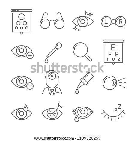 Optometry eyes health and oculist tools. Medical laser eye surgery, eyedropper, eyeball, eyesight ophthalmic lenses or glasses isolated simple black line icons set vector illustration