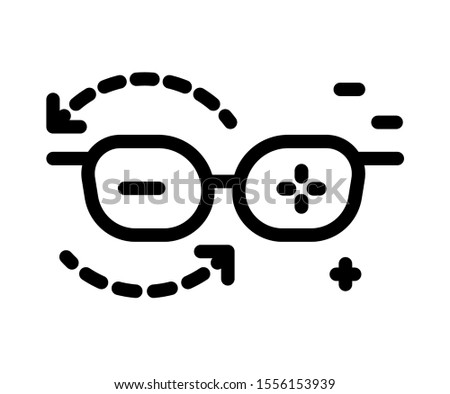 Optometry, eyesight glasses, vision correction lenses, plus and minus, isolated line icon vector. Hyperopia or myopia, optical spectacles, ophthalmologist help. Medicine and healthcare, ophthalmology