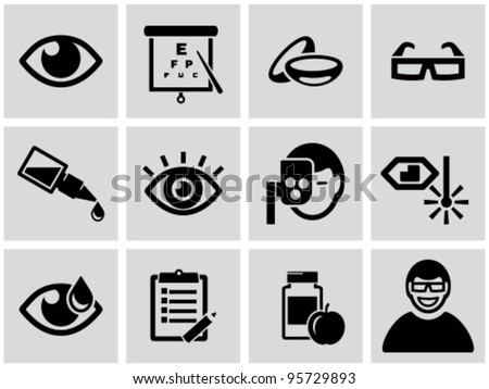 Optometry icons set. - stock vector