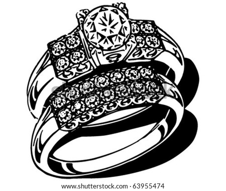 stock vector Opulent Wedding Ring Set Retro Clipart Illustration