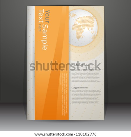 orage colored vector cover design with earth globe