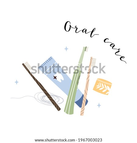 Oral care. Dental cleaning tools: bamboo toothbrush, electric toothbrush, toothpaste, dentifrice, dental floss, mouthwash. Dental hygiene, teeth care. Vector flat cartoon illustration Photo stock ©