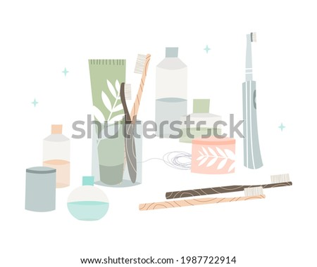Oral care. Dental cleaning tools: bamboo toothbrush, electric toothbrush, toothpaste, dentifrice, dental floss, mouthwash, tongue scraper. Dental hygiene, teeth care. Vector flat cartoon illustration Photo stock ©