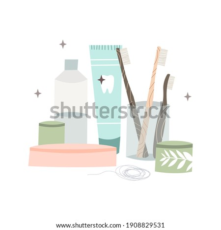 Oral care. Dental cleaning tools: toothbrush, toothpaste, dentifrice, dental floss, mouthwash. Dental hygiene, teeth care. Vector flat cartoon illustration Photo stock ©