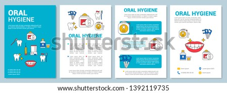 Oral hygiene brochure template layout. Daily dental health care. Flyer, booklet, leaflet print design with linear illustrations. Vector page layouts for magazines, annual reports, advertising posters