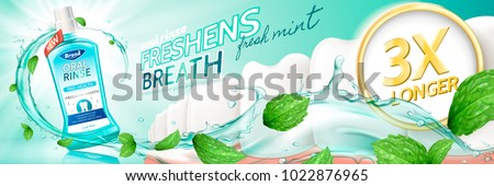 Oral rinse ads, freshmint mouthwash product with liquids flushing through teeth in 3d illustration