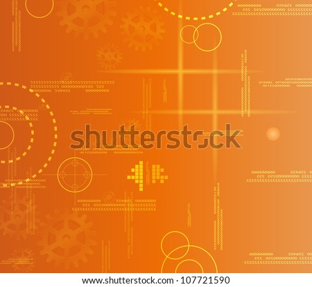 Orange abstract background gear. Eps10 vector.