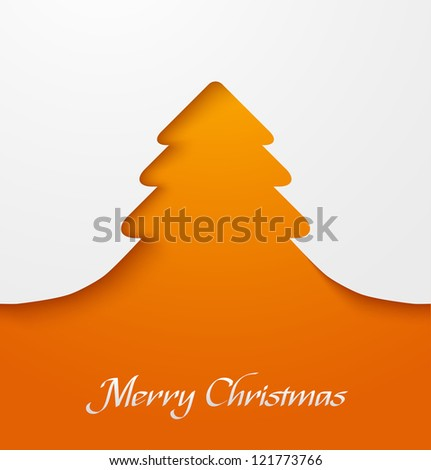 Orange abstract christmas tree applique. Vector illustration