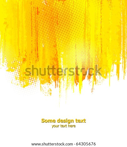 Orange abstract paint splashes illustration. Vector background with place for your text.