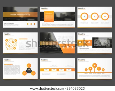 Orange Abstract presentation templates, Infographic elements flat design set for annual report brochure flyer leaflet marketing advertising banner