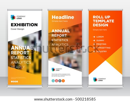 Orange Abstract Shapes Modern Exhibition Advertising Trend Business Roll Up Banner Stand Poster Brochure flat design template creative concept. Presentation. Cover Publication. Stock vector. EPS