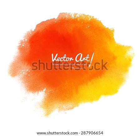 Orange abstract vector watercolor background.