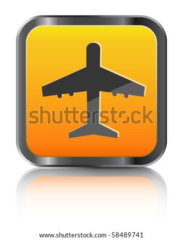 orange airplane icon isolated on white background