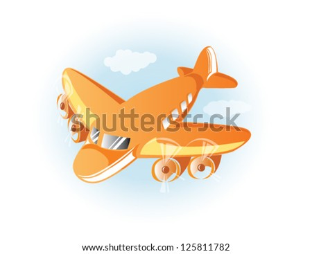 Orange airplane in the blue sky, EPS 10