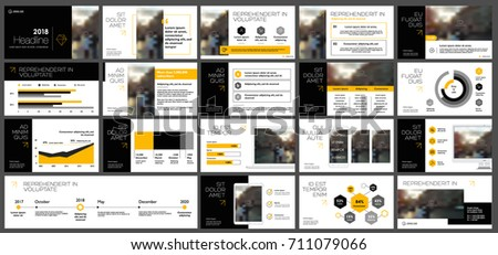 Orange and black elements for infographics on a white background. Presentation templates. Use in presentation, flyer and leaflet, corporate report, marketing, advertising, annual report, banner. #711079066