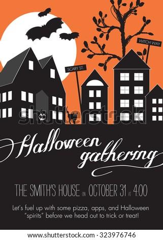 Orange And Black Halloween Neighborhood Block Party Invitation ...
