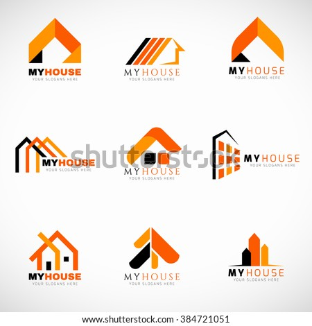 Orange And Black House Logo Set Vector Design 384721051