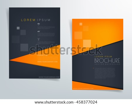 Orange and blue black brochure template flyer background and header design triangle paper element with space for text and message in A4 size , Vector