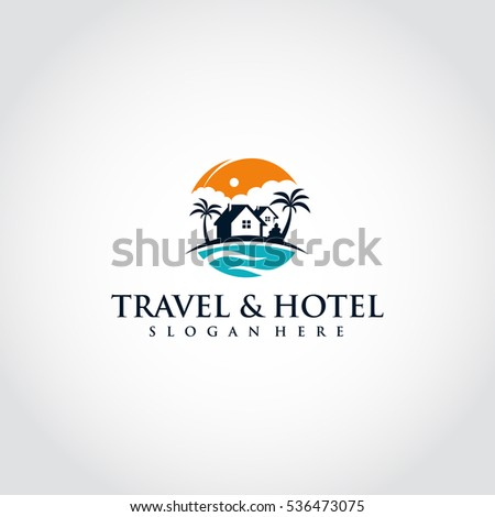 orange and blue Travel and hotel logo template. vector eps.10