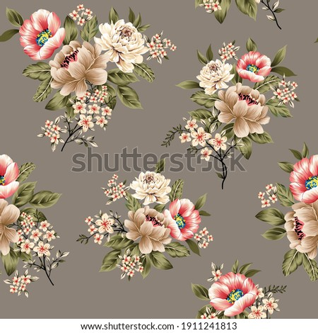 orange and cream vector flowers with green leaves bunches  pattern on grey background